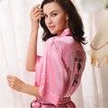 2015 Sexy Secret Mujeres Albornoz Rosa Suave Deslizamiento de Seda Satén trajes de Fiesta Pijama Caliente Diamante Feminino Vestido de Noche Mostrar Sleepgown