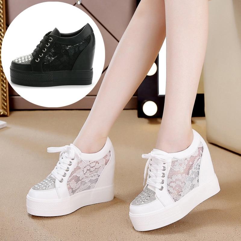 e52f0028a0161 Mujeres Fondo Moda Plano Primavera ¡2019 Mayor Línea negro Mesh Casuales  Zapatos En White Nuevos ...