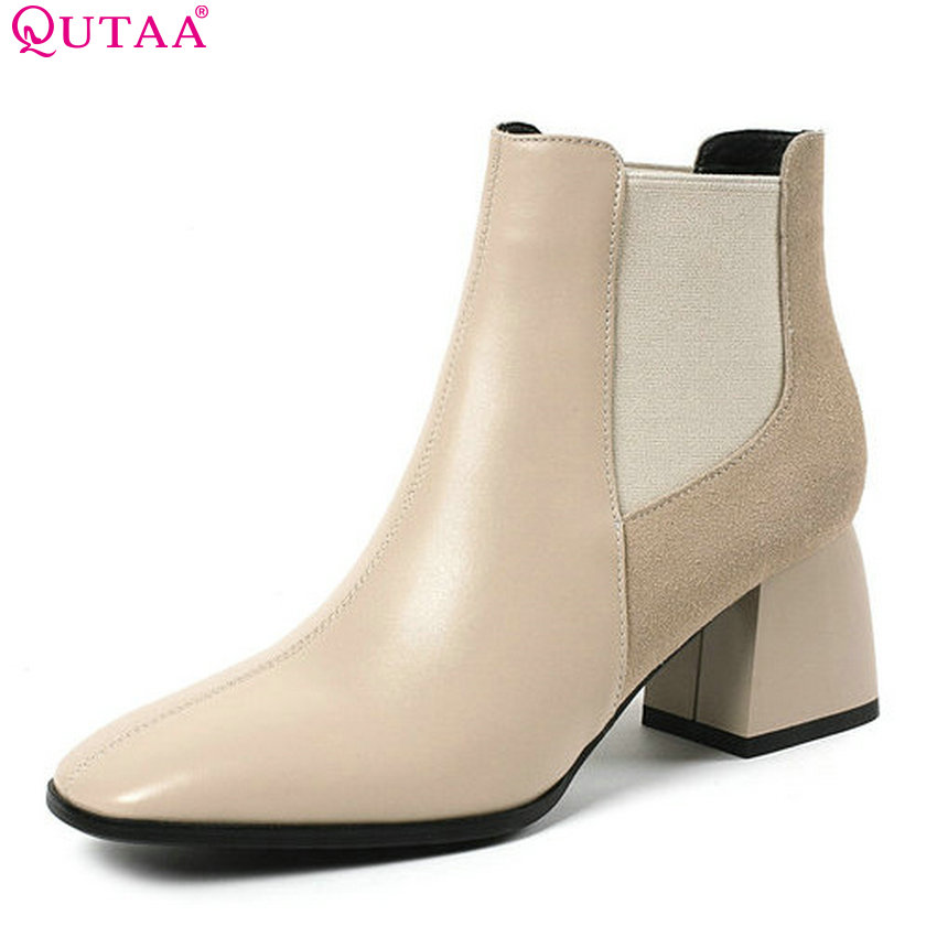 QUTAA 2019 Women Ankle Boots Cow Leather+Pu All Match Platform Solid Winter Shoes Women Motorcycle Boots Big Size 34-43QUTAA 2019 Women Ankle Boots Cow Leather+Pu All Match Platform Solid Winter Shoes Women Motorcycle Boots Big Size 34-43