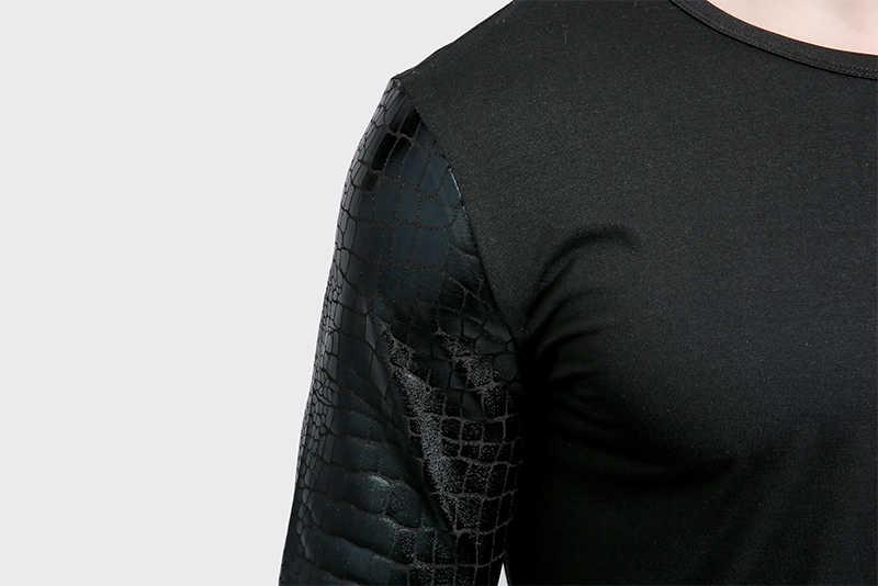 Блестящая футболка Для мужчин 2017 бренд Для мужчин s осень футболки змеиной кожи с длинным рукавом Slim Fit Футболка Homme Повседневное бедра -хоп мужской футболки