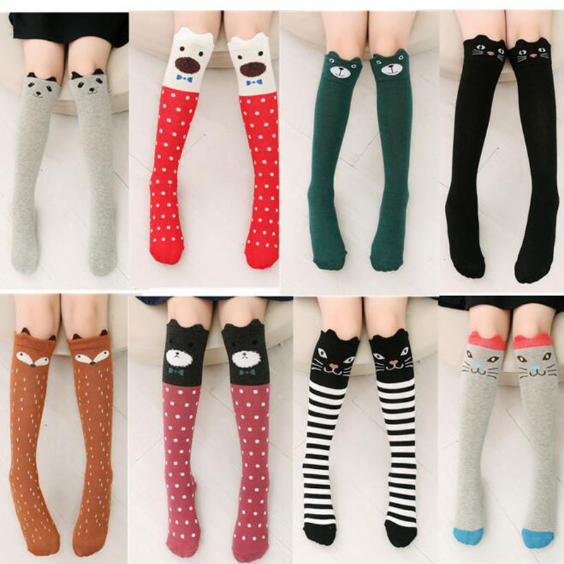 2017 New Spring Autumn Children Socks Cotton 3D Printing Cat Baby Girls Knee Socks Fashion Cartoon Bear Dancing Socks Toddlers