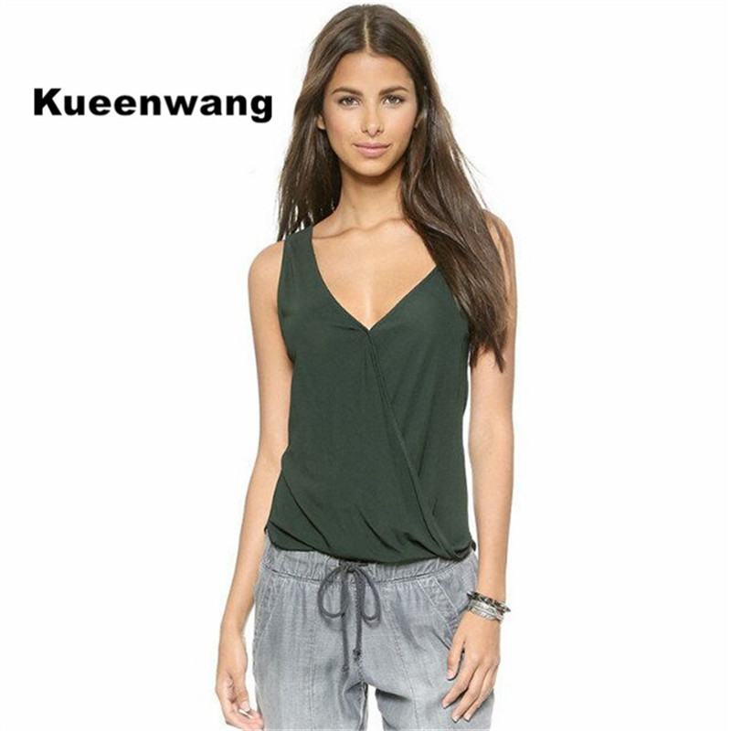 2baef1df81b2d Kueenwang Army green Tank top sleeveless vest women tops low V neck soft  breathable women tops crop camis hot sale clothing