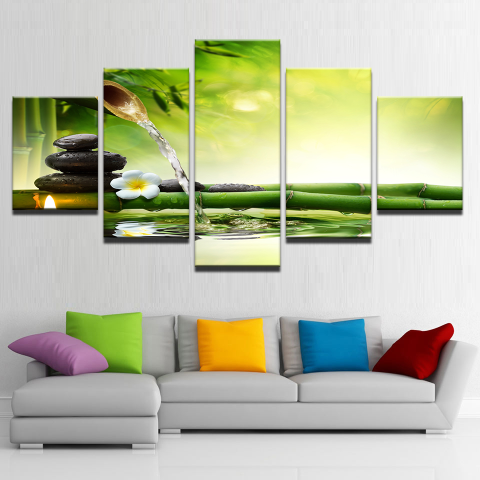 Artryst Living Room HD Printed Painting Home Decor Poster 5 Panel Zen Spring Stone Bamboo Flowing Water Modern Wall Art Pictures