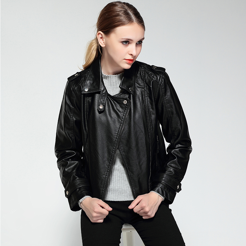 Female 2018 New Design Spring Autumn PU Leather Jacket Faux Soft Leather Coat Slim Black Rivet Zipper Motorcycle Pink Jackets 5
