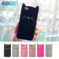 AIBOR Fashion 3D cute cartoon Black beard cat Ear silicone case For iphone X 8 plus 5 5S SE 6 6s 7 plus rubber Coque back cover
