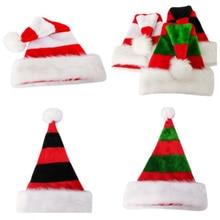 2 pcs/ lot Top grade Double layer Plush Santa hat Christmas Caps Thick Ultra Soft Hats Claus Holidays Fancy xmas Hat