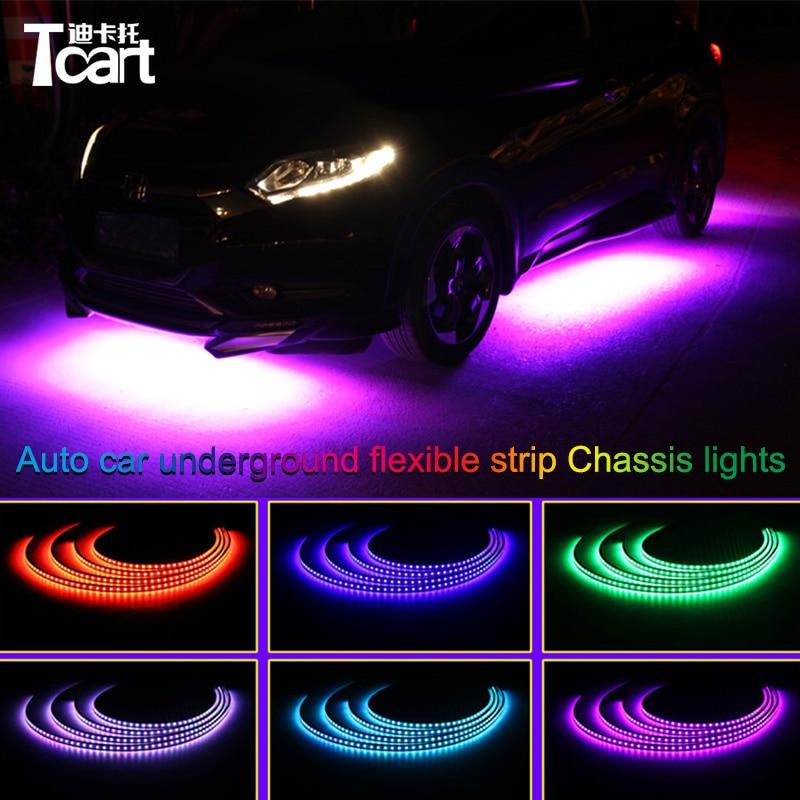 Tcart app control RGB LED For vw golf 4 mk4 Strip Under Car Tube Underbody Underglow System Neon Light Remote