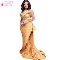 Nàng Tiên Cá màu cam O-Cổ Evening Dresses Dài Thanh Lịch Phi Prom Dresses Luxury Beading Quan Trọng Đảng gowns Z834