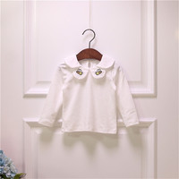 Spring Autumn Baby Girl T Shirt Ruffle Petal Collar Kids White Color Girls Tops Cotton Embroidery