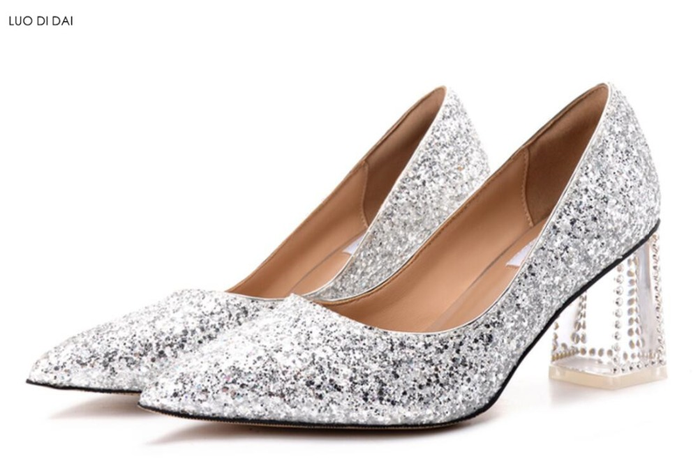 2018 New women glitter high heels clear heel diamond stud pumps party shoes sequin leather pumps wedding shoes bling bling shoes shoes women high heels sexy wedges platforms glitter diamond shoes wedding shoes rhinestone heels party shoes pumps
