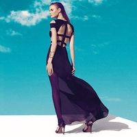 3 Colors Top Quality New Sleeveless Black Sexy Long Bandage Dress Evening Party Fashion Dress