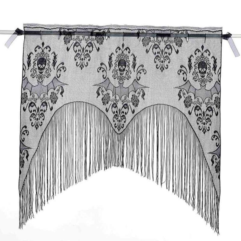 Bat Living Room How To Design Ideas Hot Sale Halloween Spider Black Lace Curtains Window Decorations Party Skull Embroidery Tassel Curtain E