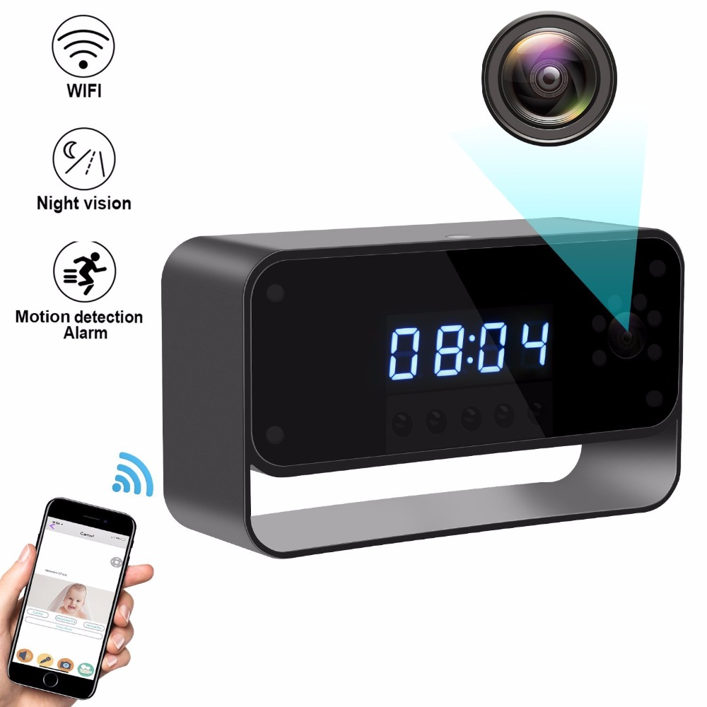 WIFI Camera Clock HD 1080P Wireless Security Cam with Motion Detection for Home Nanny Cameras Starlight Night Vision Remote View ...
