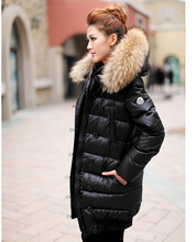 New 2016 Winter women Down Jackets High Quality Women Warm Slim Large Fur Collar white duck down jacket Parkas Long Down Coats