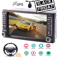 Double Din Car Stereo WinCE Car MP5 Player 7 Inch Capacitive Touch Screen GPS Navigation Head Unit For Toyota Corolla Support