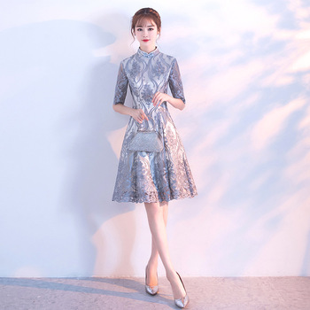 Gray Lace Women Chinese Traditional Dress Party Lady Elegance Cheongsam Wedding Dress Vintage Bridesmaid Qipao Evening Dress