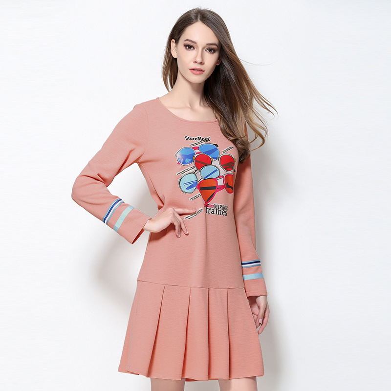 New Arrival 2017 Spring Plus Size Juniors Cute Pleated Dress Printed