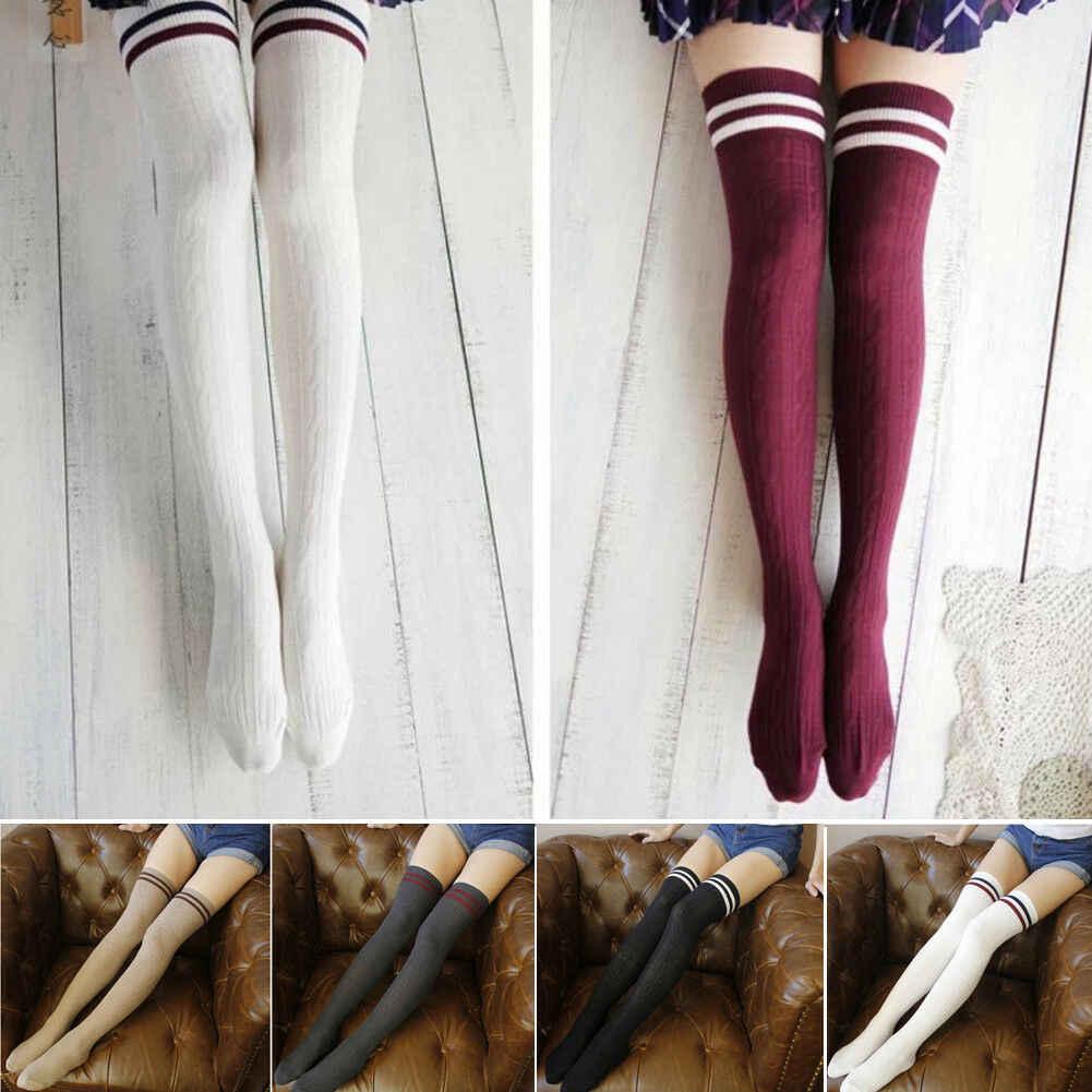 Sıcak Kadın Kış Sıcak Kablo Örgü Ekstra Uzun Boot Stocking Diz Yüksek Rahat Tatlı Moda Yeni Kız Basit Stocking