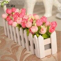 30 см белый деревянный забор цветок костюм Искусственный Розовый шелк Цветочный декоративный цветок для дома бонсай подарок на день матери