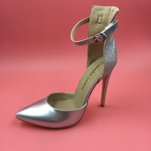 Silver Ankle Strap Tow-piece Women Pumps High Heels PointedToe Ladies Shoes High Heels Party Pump Sapatos Feminino Com Salto