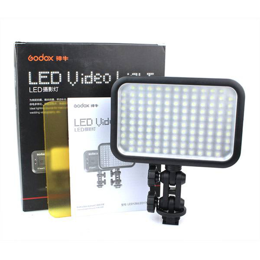 Godox 126 LED Video Light Lamp + Filter for Nikon Canon Pentax Olympus DSLR Camera Camcorder DV godox professional led video light