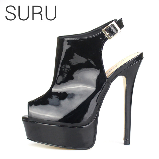 c25daa1ce34 SURU Platfrom Slingback Peep Toe Sandals Heels Shiny Patent Black or Red  Large Size Shoes 48 47 46 45 44 43 42 Big Sizes 12 13
