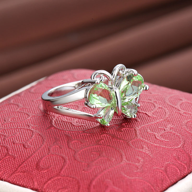 HONGHONG 2017 high quality Apple green rings for women Butterfly shape fashion Jewelry Cubic zirconia ring for gril best gifts