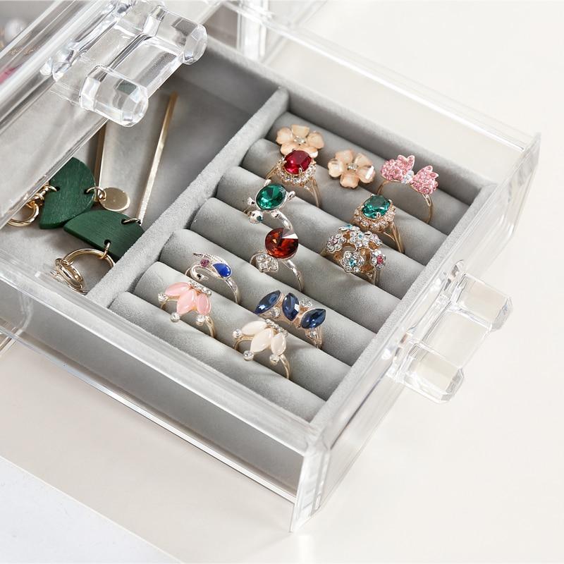Anfei новый маленький размер ювелирные изделия Организатор лоток личный ящик организации Box ожерелье держатель кольца коробка для хранения б...