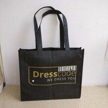 Venta al por mayor 1000 unids/lote de reutilizable plegable tela no tejida bolsas de compras impreso Logotipo de oro justo Promoción de bolsas