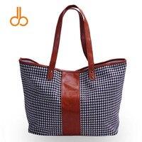 Tan Jodełkę Houndstooth Plaid Kobiet Torebki Patchwork z Vegan Leather Tote Bag Fashion DOM103405