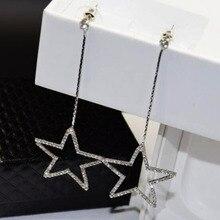 Color plating Anti allergy Elegant Crystal Star Long Earrings Hollow Rhinestone Five Pointed Star Pendant Drop Earrings Brincos цена
