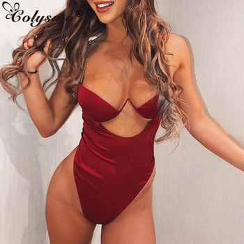 Colysmo Sexy Satin Bodysuit Women Black Hollow Out Backless Bodycon Bodysuit Summer Red Rompers Skinny Body Mujer Top Overalls hollow out choker bodysuit