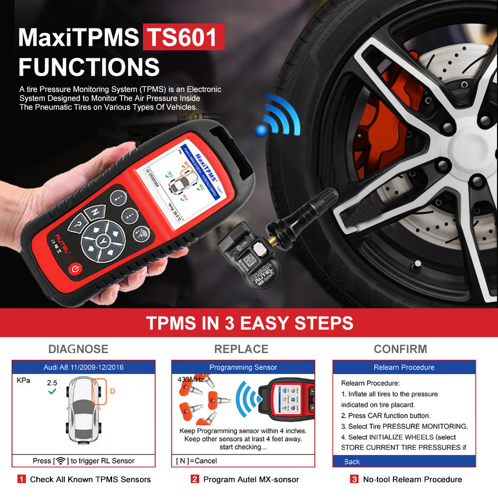 Image 3 - AUTEL MaxiTPMS TS601 Car OBD2 Diagnostic Tool Activate Tire Sensor TPMS Reprogramming Automotive Code Reader Scanner PK TS501