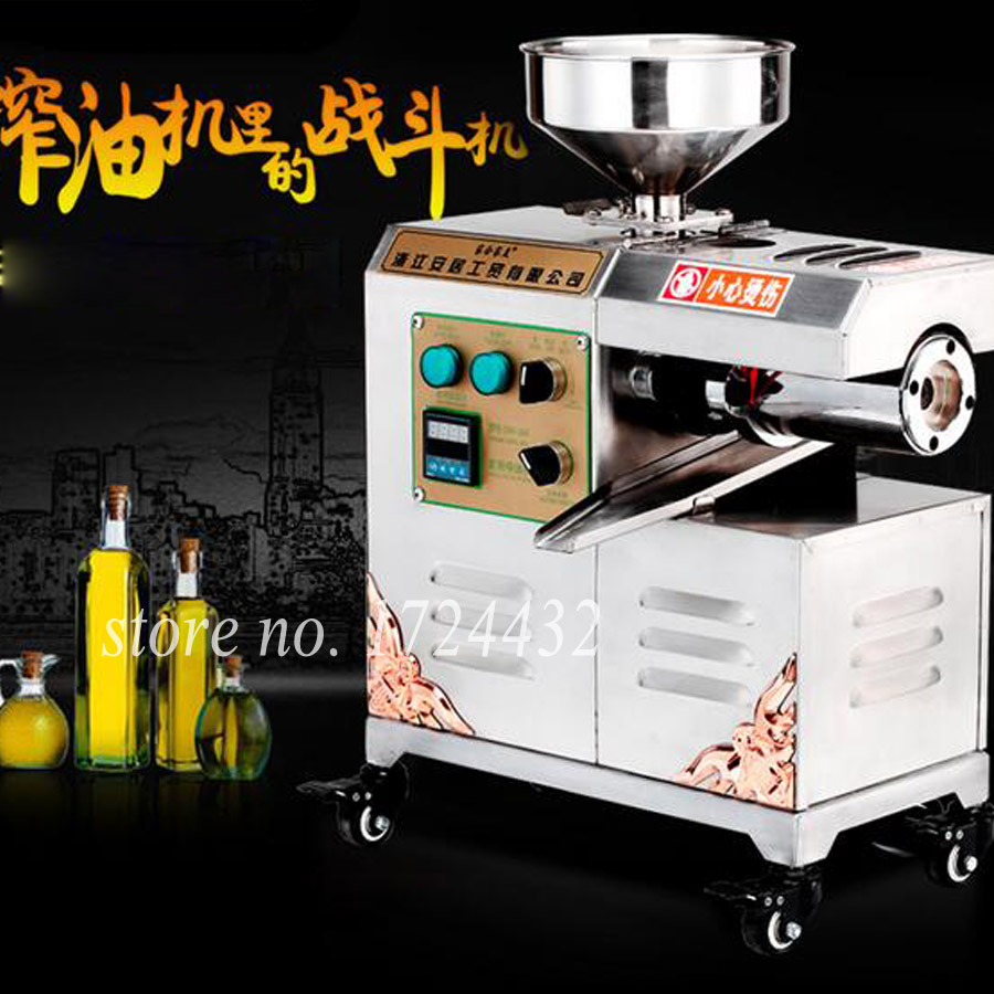 Hot Selling Household Mini 220V 220W Cold / Hot Pressing Oil Press Machine Automatic Peanut Olive Oil Presser 40%-50% Oil Yield 220v mini oil press machine olive peanut oil pressing presser household oil extraction machine hf 04
