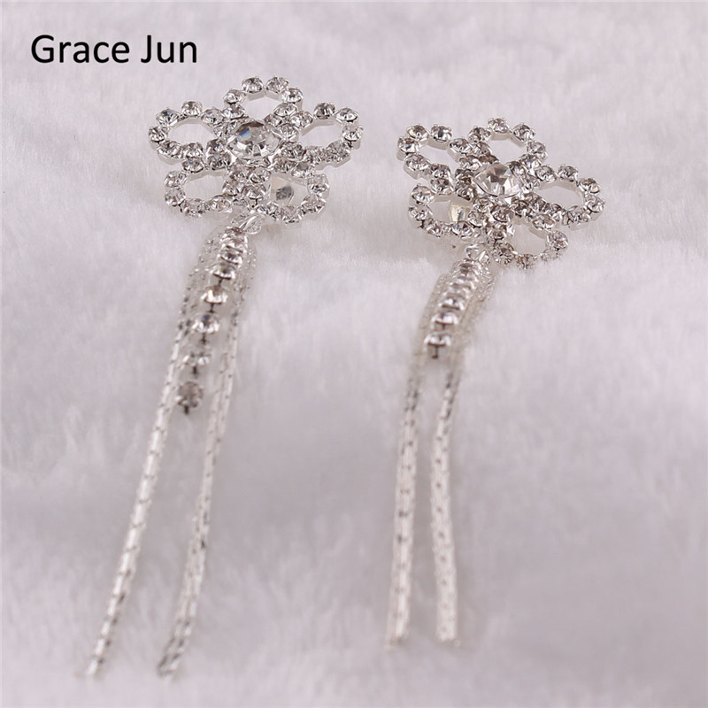 Grace Jun (TM) nouvelle mode fleur glands strass Clip sur boucles - Bijoux fantaisie - Photo 5
