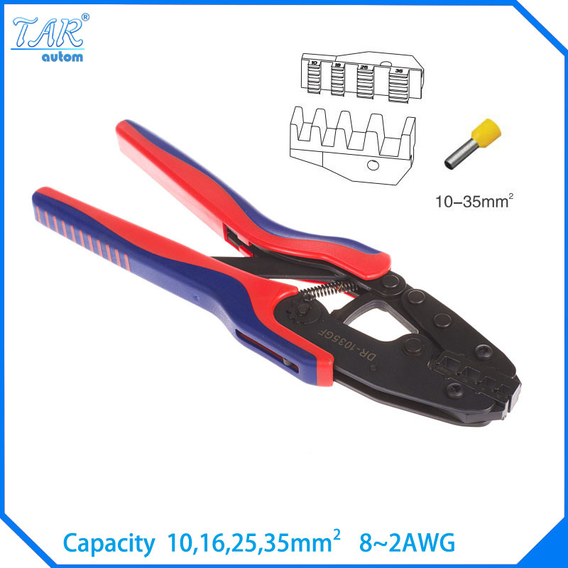 10,16,25,35mm Super Strength-Saving Crimping Pliers Ratchet Crimping Tool Insulated and Non-insulated cable end-sleeves DR1035GF 1pcs vh1 06wf mini crimping pliers insulated and non insulated ferrules capacity 0 25 6 0mm2 free shipping