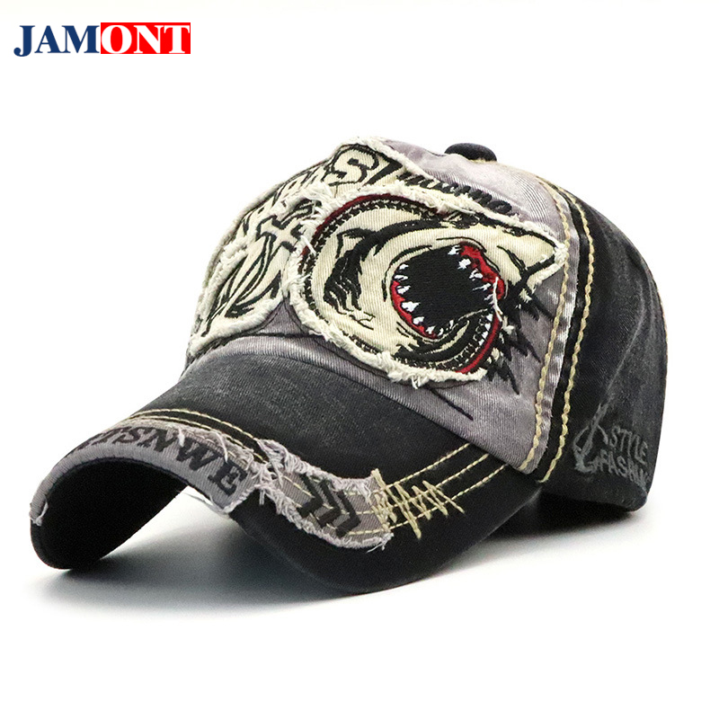 2018   Baseball     Cap   Dad Hat For Men Women   Baseball     Cap   Cotton Shark Embroidery Fitted Cartoon Hats   Caps   Gorras Para Hombre JAMONT