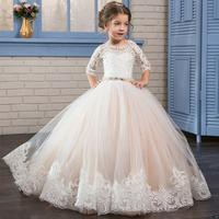 Long Sleeve Lace Flower Girl Dress Tulle Kids Holy Communion Dress Ball Gown Party Prom Princess Pageant Bridesmaid Wedding