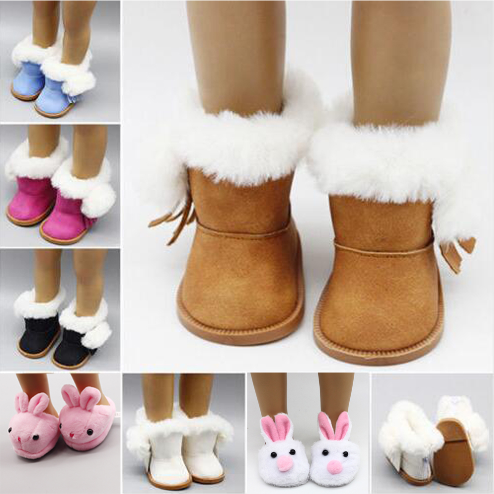 1 Pair BJD Plush Winter Snow Boots For 43cm Baby Dolls As For 18 Inch Girl Dolls Mini Shoes For Christmas Gift Toy Socks(China)