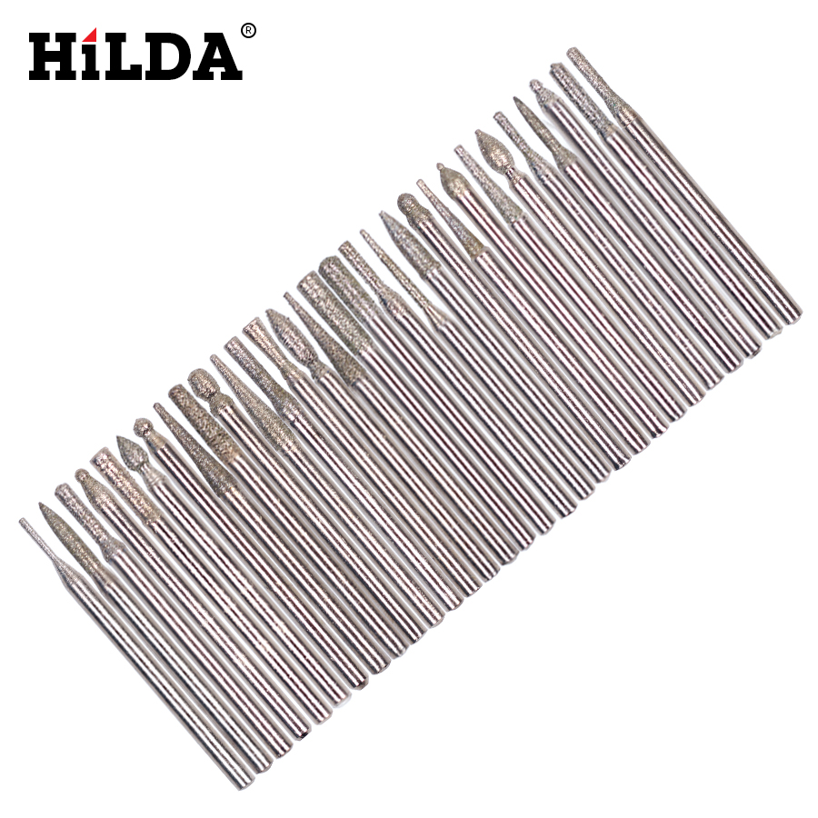 HILDA 30pcs Diamond Burr Bit Set For Dremel Rotary Tools 1/8 150 Grit For Dremel Rotary Tool Dremel Accessories Woodworking mx demel high quality 17pcs 1 2 felt polishing wheels dremel accessories fits for dremel rotary tools dremel tools small