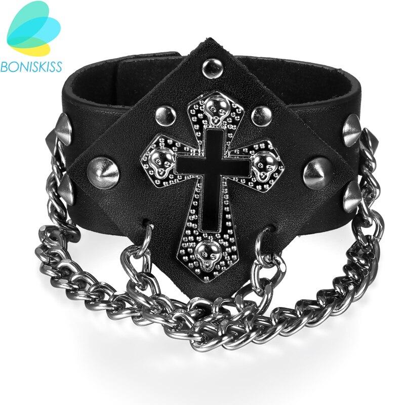 Boniskiss Punk Black Rivet Bracelet Men & Women Bangle Spikes Gothic Rock Cross Leather Bracelet For Hip-hop Jewelry Wholesale