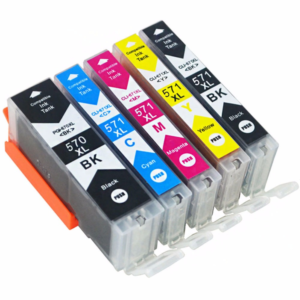 5x 570 571 PGI-570 CLI-571 Ink Cartridge Compatible for Canon Pixma MG5750 MG5751 MG5752 MG6850 MG6851 MG6852 TS6050 <font><b>TS5050</b></font> 5051 image