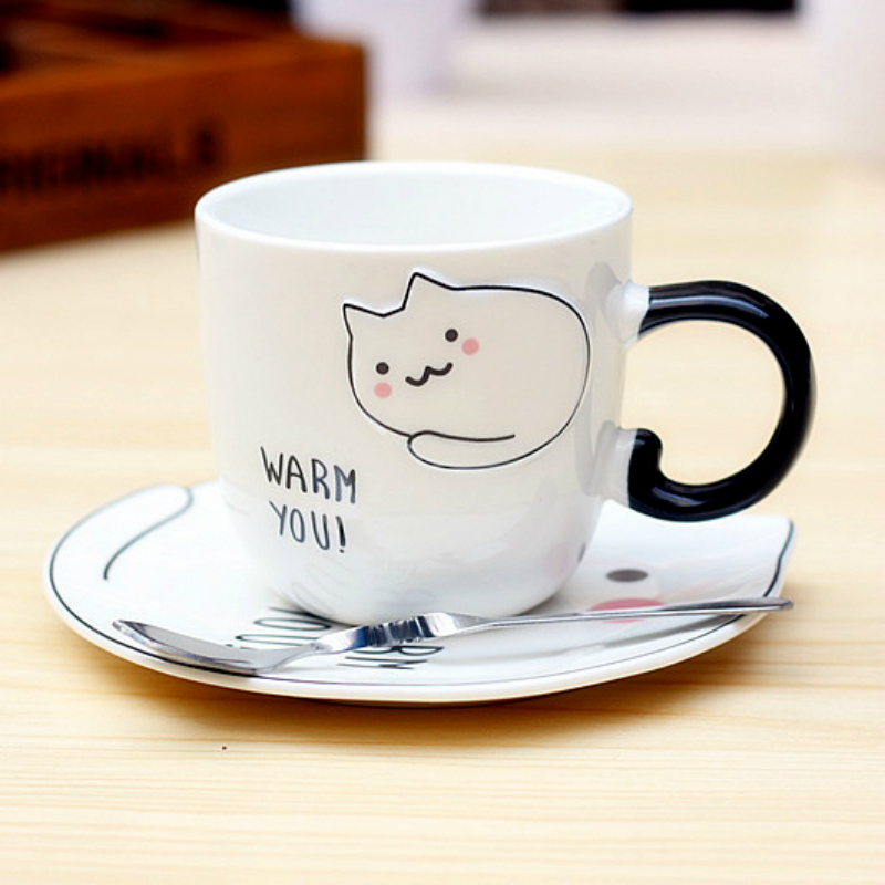 New cute cat mugs Coffee cup with saucer coffee mugs creative  cups and mugs Small lazy cat cup with Spoon Girl gift
