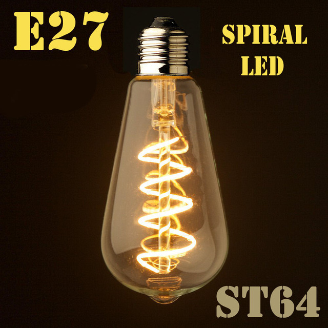 Dimmable E27/B22 T45 A60 ST64 G95 G125,Spiral LED Filament Light Bulb Retro Vintage Lamps Decorative Lighting