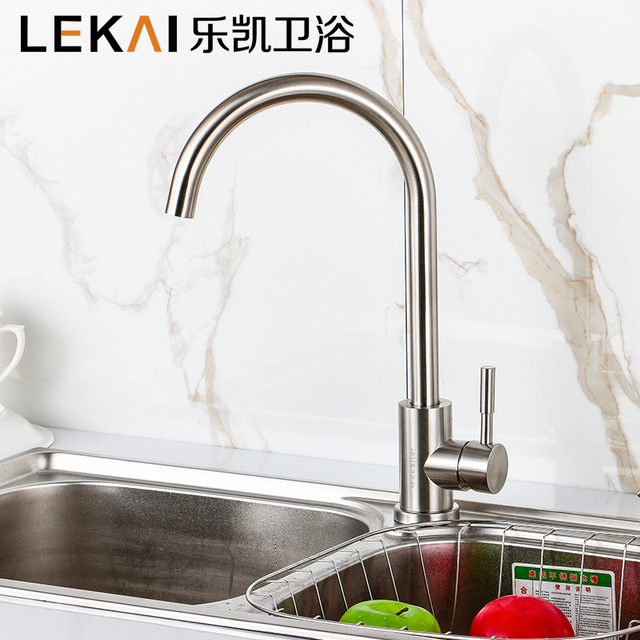 Double sitting 304 stainless steel faucet wrench hot and cold ...