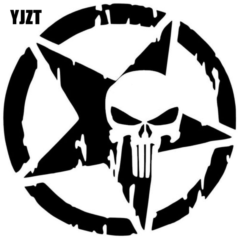 13CMX13CM The Punisher Skull Car Sticker Pentagram Vinyl Decals Motorcycle Accessories C1-3132