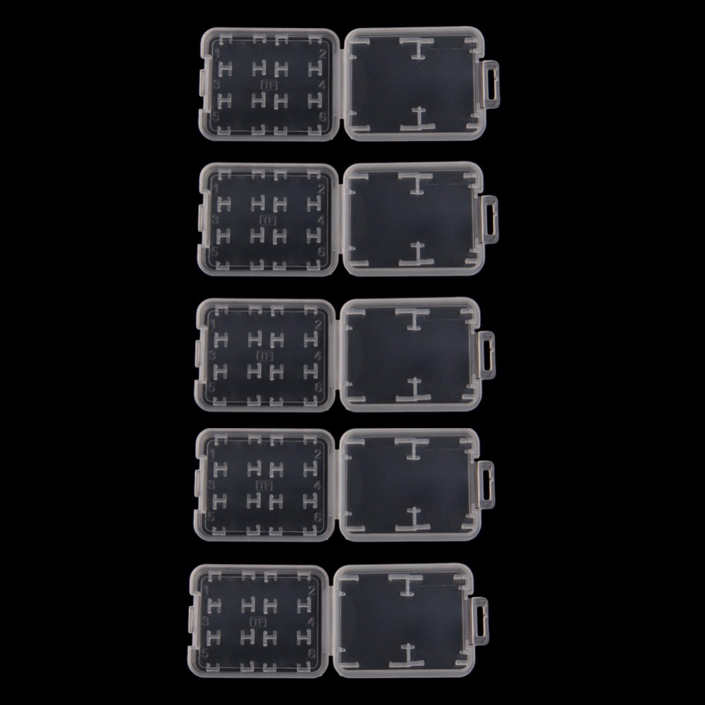 5PCS 8 In 1 Plastic Transparent Standard SD SDHC Memory Card Case Holder Box Storage