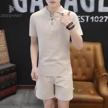 Zeeshant Summer Chinese Traditional Men Shirt 5XL Linen Short Sleeve Big Casual V-neck Shirt + Shorts Two-piece Sets XXXXXL