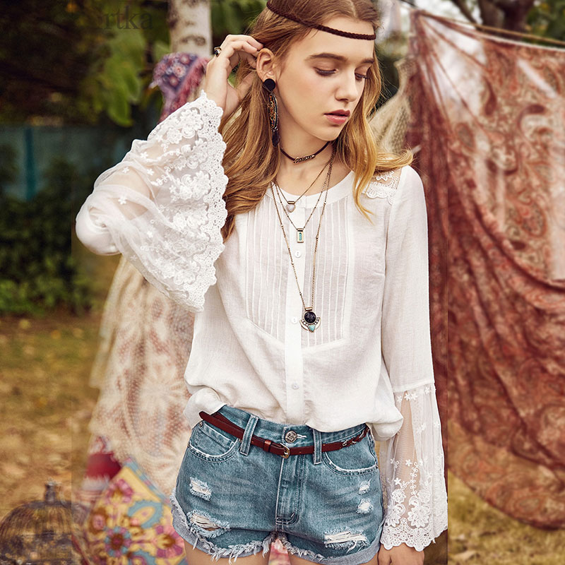 ARTKA Summer 2018 New Women Solid Lace Embroidered Patched Flare Sleeve Elegant White Shirt Blouse SA10987C