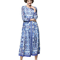 Blue And White Porcelain Print Classic Fashion European Style 2018 Spring Womens Long Dresses Female High